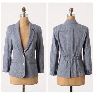 Cartonnier chambray blazer jacket Anthropologie 2